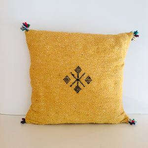 Moroccan Handloom Cushion Cover : Mustard Yellow