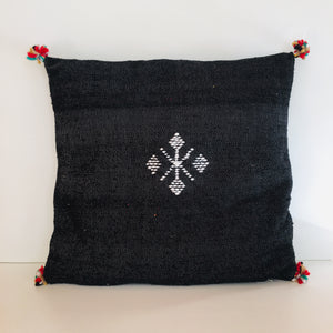 Moroccan Handloom Cushion Cover : Black