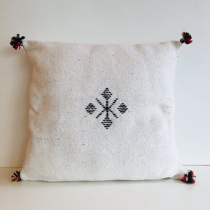 Moroccan Handloom Cushion Cover : Natural White
