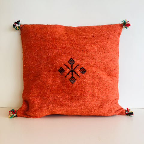 Moroccan Handloom Cushion Cover : Burnt Orange