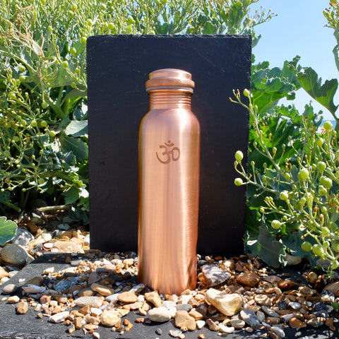 Ayurvedic Copper Water Bottle - 1ltr - Lacquered OM