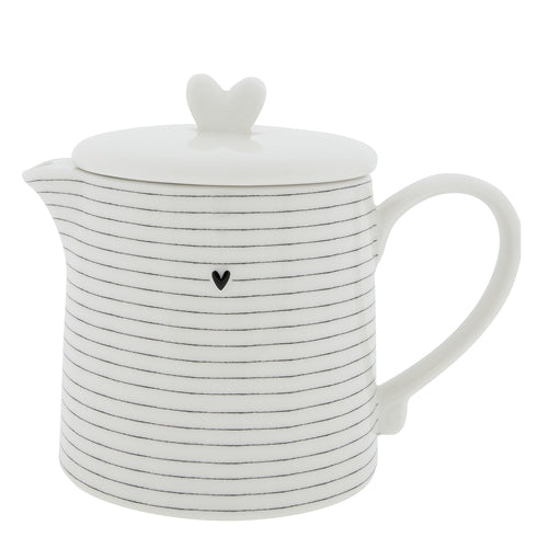 Teapot White w.Stripes in Black - Noirhome