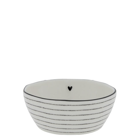 Bowl Sauce with heart/stripes in Black 6.8X9.5X3cm - Noirhome
