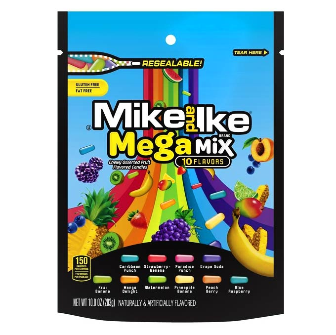 Mike and Ike Mega Mix - 10-Flavors, Large Bag (283g)
