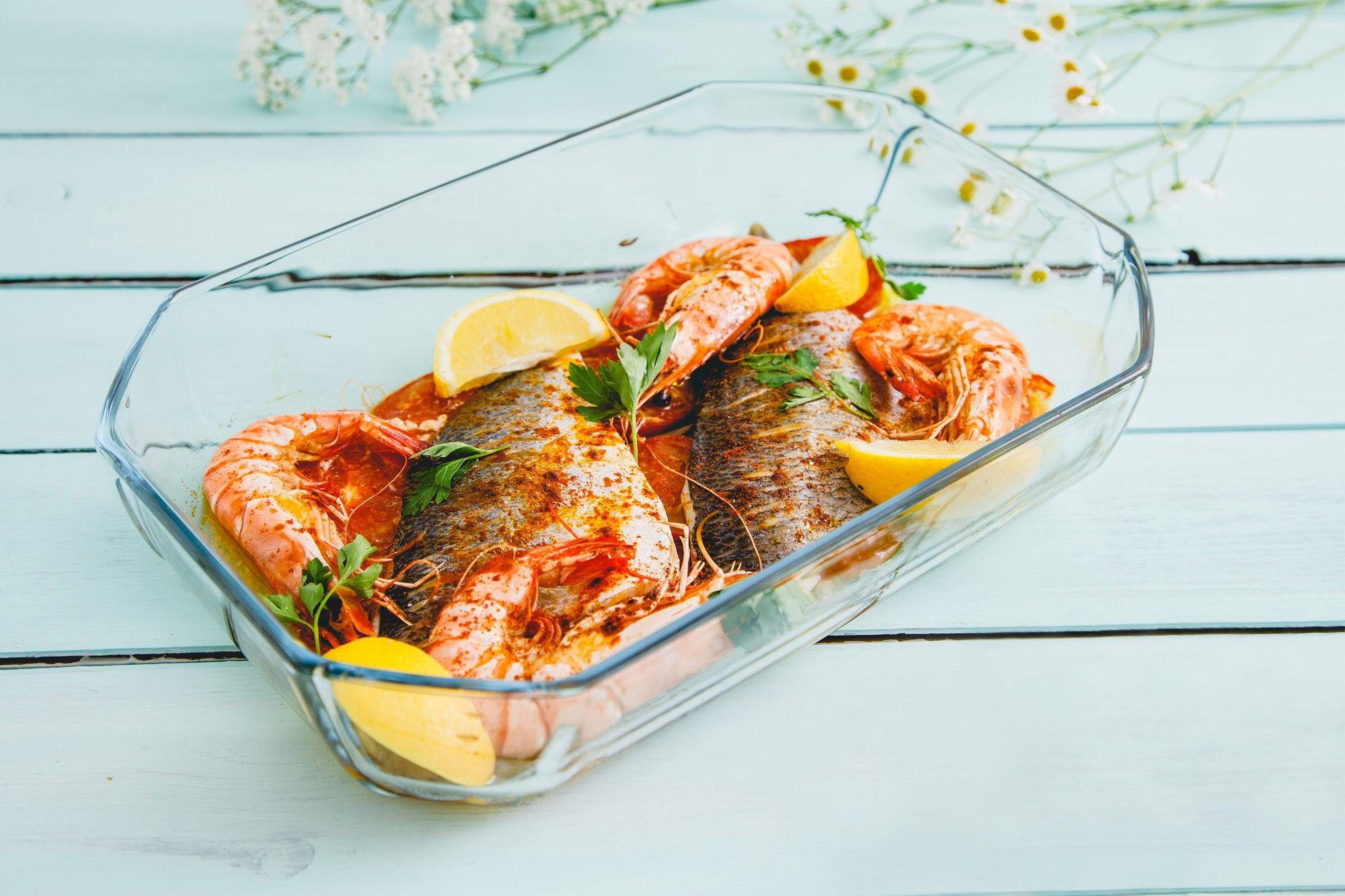 Roasted Sea Bream King Prawns