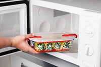 Cook & Heat Rectangular glass food container with patented microwave safe lid