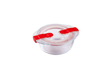 Cook & Heat Round glass food container with patented microwave safe lid