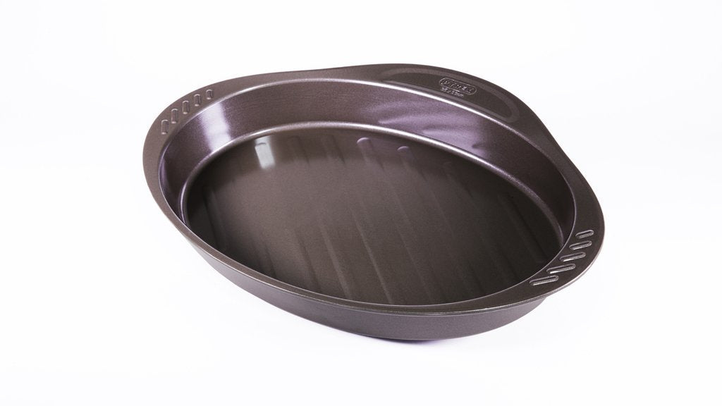 asimetriA Metal Easy-grip oval Roaster 35x23 cm