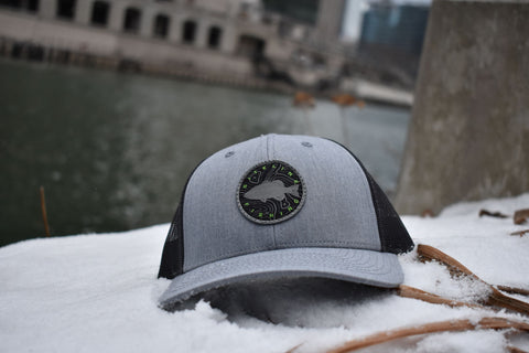Siteline Fishing Heather Gray Snapback Patch Hat
