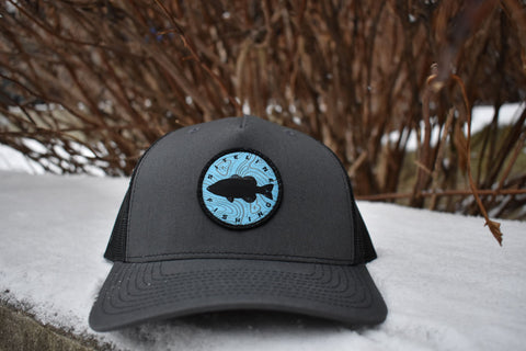 Siteline Fishing Charcoal Snapback Patch Hat