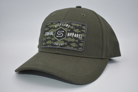 """Multi-Species"" Olive Green Canvas Patch Hat- Velcro Close"