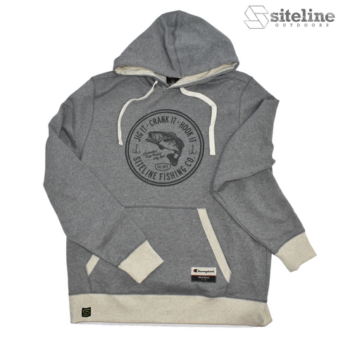 Siteline Fishing Co. Super Soft Hoodie - Heather Grey / Oatmeal