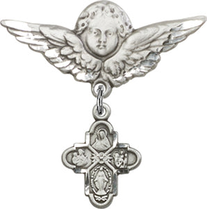 4-Way Medal - Baby Badge and Angel with Wings Pin - Sterling Silver