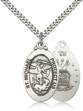 Load image into Gallery viewer, Air Force Medal Pendant - Silver Filled St. Michael medal on a 24 inch
