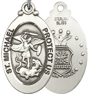 Air Force Medal Pendant - Silver Filled St. Michael medal on a 24 inch