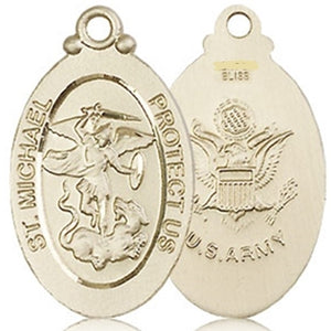 ARMY MEDAL - 14KT Gold St. Michael the Archangel Medal no chain - 4145