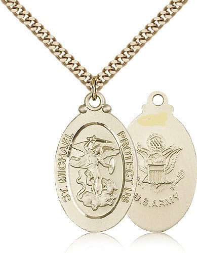 ARMY MEDAL - Gold Filled St. Michael the Archangel Medal Pendant