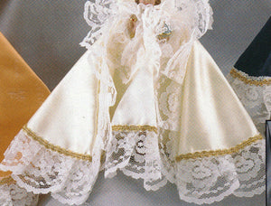 Infant Jesus of Prague:  9 inch Statue with White Satin Gown