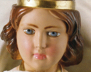 Infant Jesus of Prague: 12 inch Statue with Red Velvet Gown
