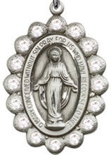 Load image into Gallery viewer, Miraculous Medal/Pendant - Sterling Silver on a 24 inch Heavy Curb Chain