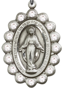 Miraculous Medal/Pendant - Sterling Silver on a 24 inch Heavy Curb Chain