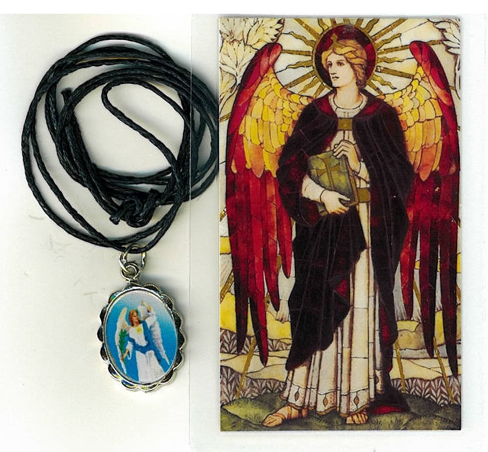 Necklace - San Uriel Arcangel Medal & Holy Card