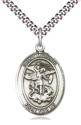 St. Michael the Archangel Sterling Silver  - Pendant - on a 24-inch chain