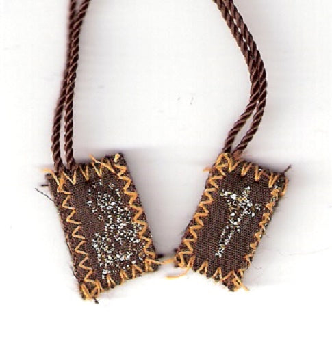 Brown Scapular of Mount Carmel - Tiny  - 1/2