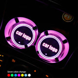 Led Car Logo Cup Lights up Holder USB Charging 7 Colors Changing The Geek Shop Custom Logo