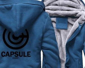 Otakuzz Men dragon ball zip up hoodie Streetwear Fitness Sportswear jacket Otakuzz blue black XL