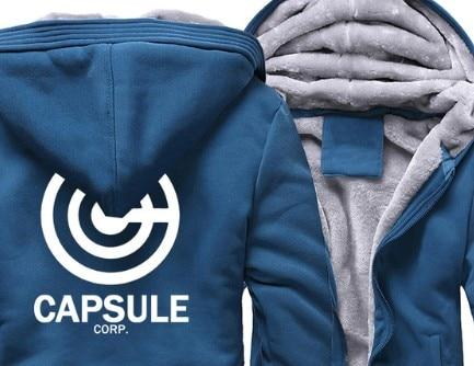 Otakuzz Men dragon ball zip up hoodie Streetwear Fitness Sportswear jacket Otakuzz blue white XL