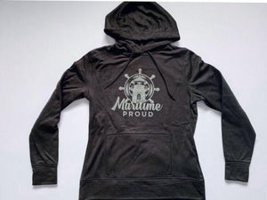 Women's Black Heather Hoodie with Grey Logo