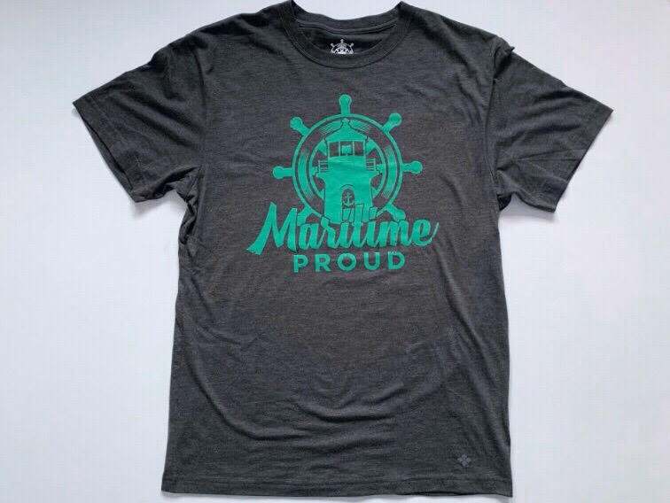 Charcoal Grey Men's T-shirt with Green Logo