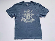 Load image into Gallery viewer, Denim Blue Men's T-shirt with Grey Logo