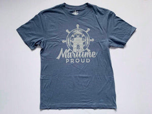 Denim Blue Men's T-shirt with Grey Logo