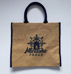 Large Jute Tote bag with Navy Blue Logo