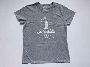 Light Grey Women's T-shirt with White Logo
