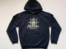 Load image into Gallery viewer, Navy Blue Unisex Hoodie With Grey Logo