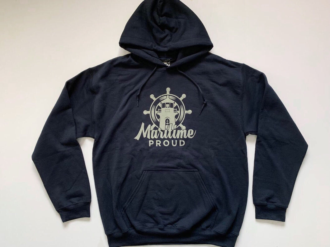 Navy Blue Unisex Hoodie With Grey Logo