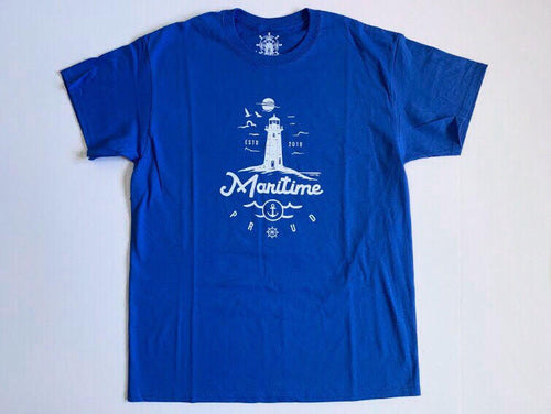 Royal Blue Men's T-shirt with White Logo