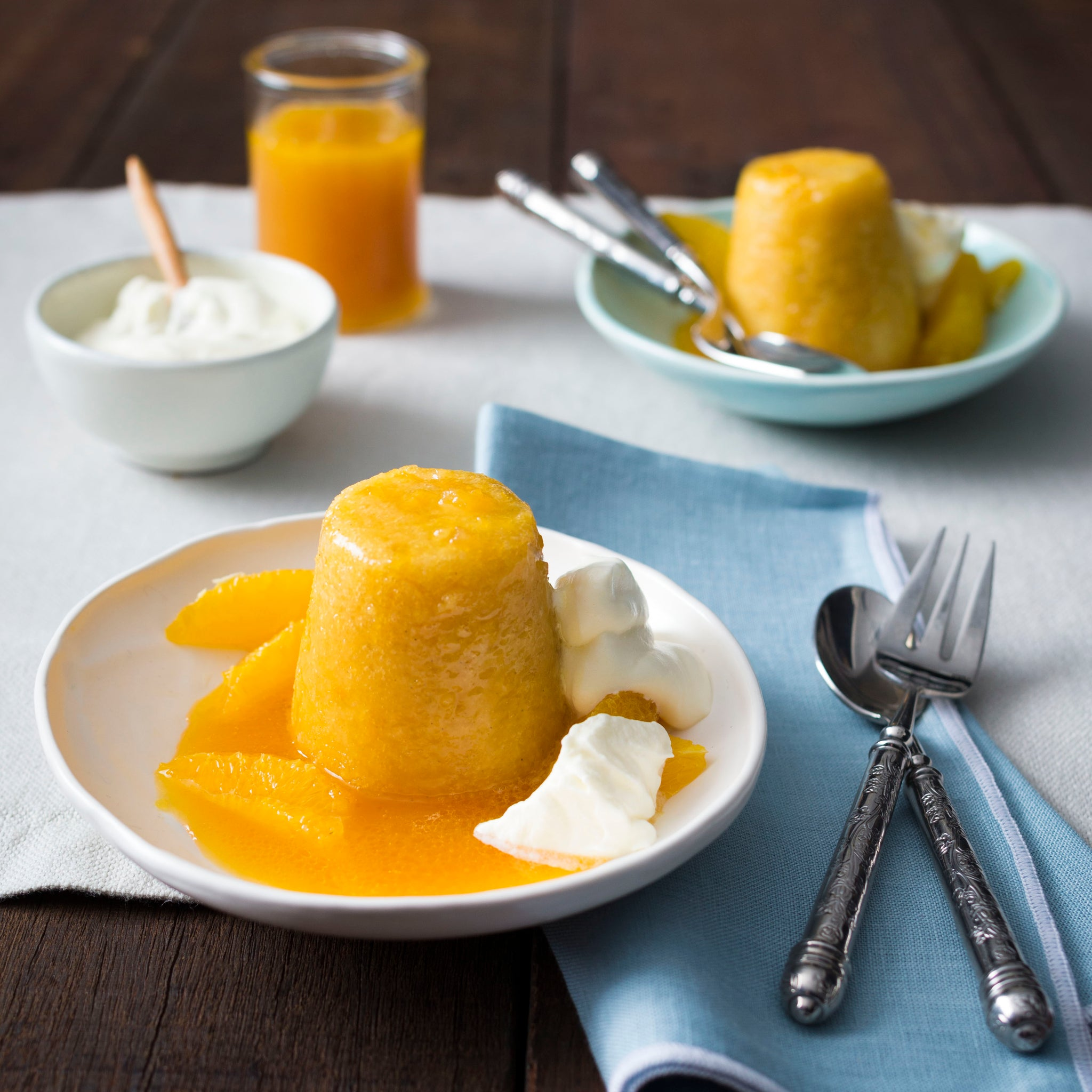 Steamed orange puddings