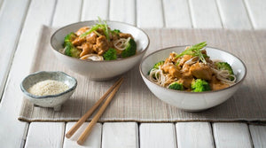 Orange and Sesame Chicken with Broccoli and Noodles