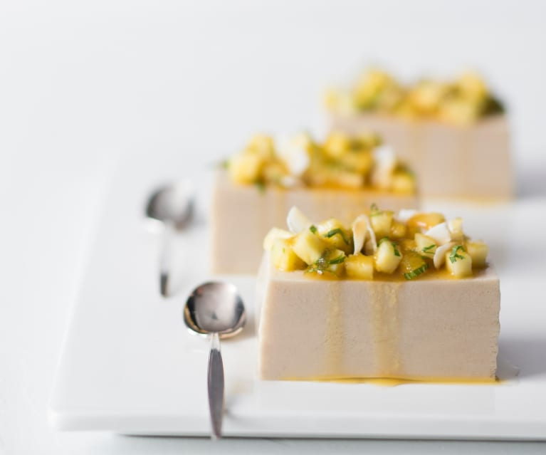 Coconut & almond jelly with pineapple syrup