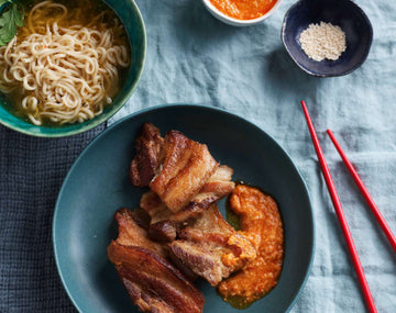 Slow-Cooked Pork Belly with Noodles and Chilli Sesame Sauce