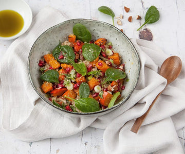Pumpkin and pomegranate quinoa salad