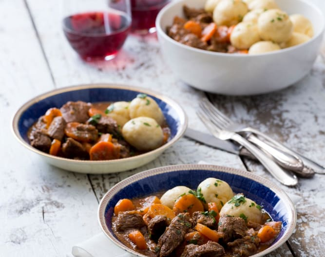 Beef stew with buttermilk dumplings