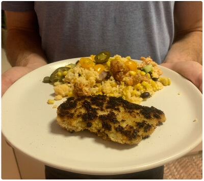 A good start. Chicken cutlets with fresh breadcrumbs and leftover corn and bean salad.