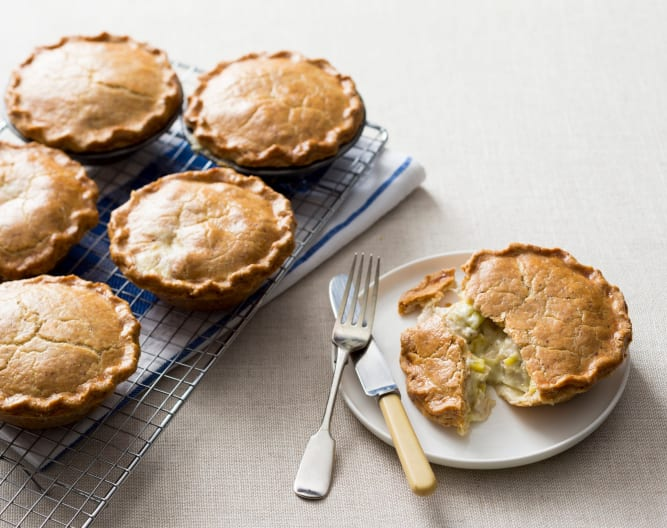 Chicken and leek pies