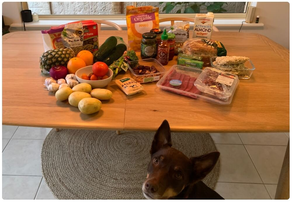 Most of the contents of my fridge and pantry. Photo bomb: the owner of the dog treats.