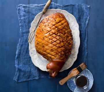 Pineapple and orange glazed ham